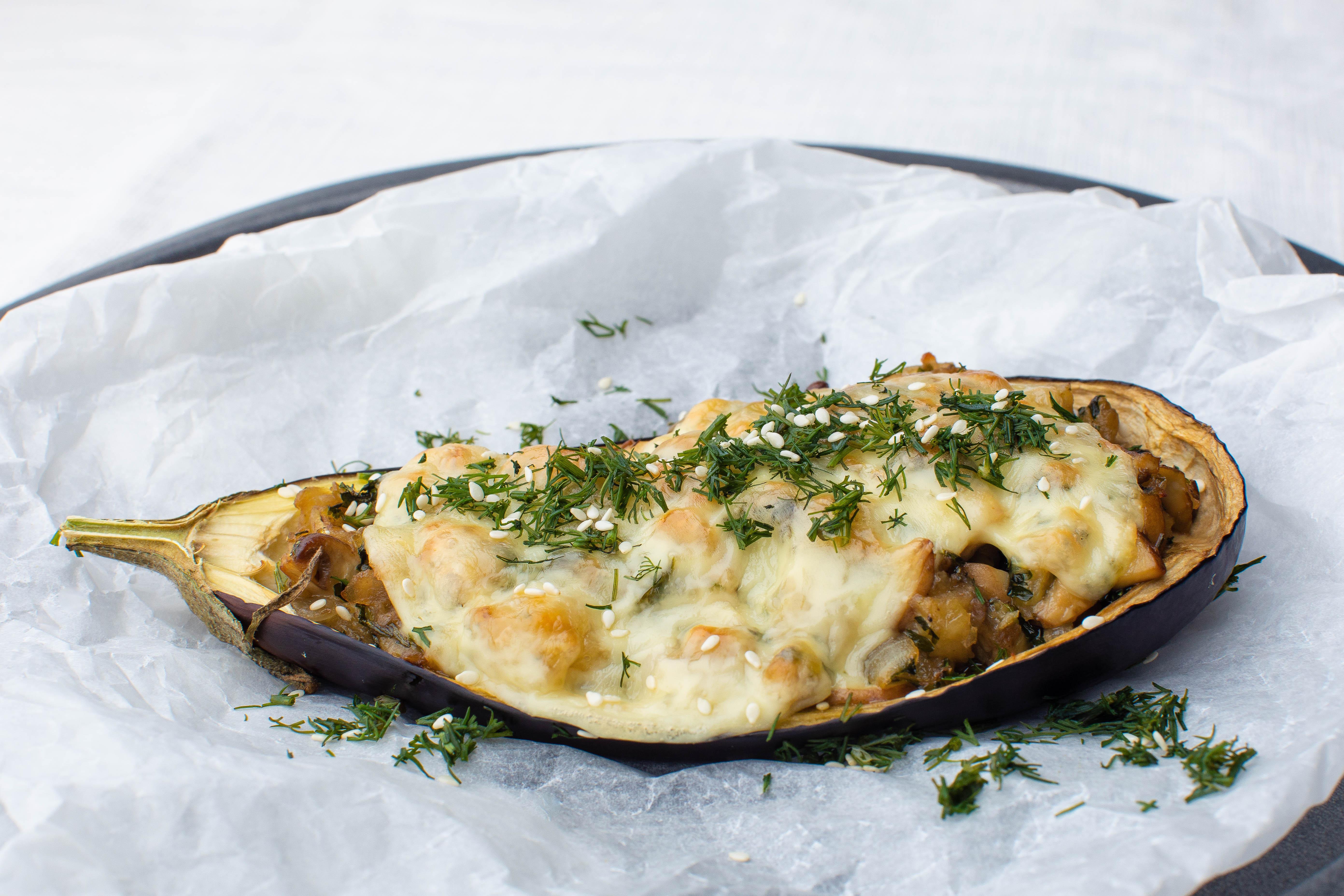 Veggie-stuffed keto eggplant