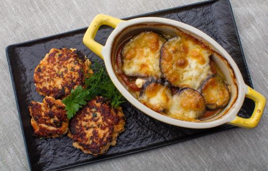 Keto salmon patties with oven baked veggie pot