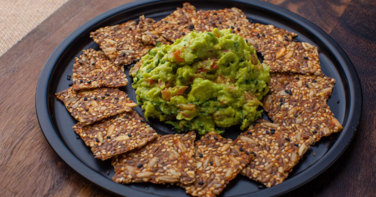 Guacamole with keto seed crackers