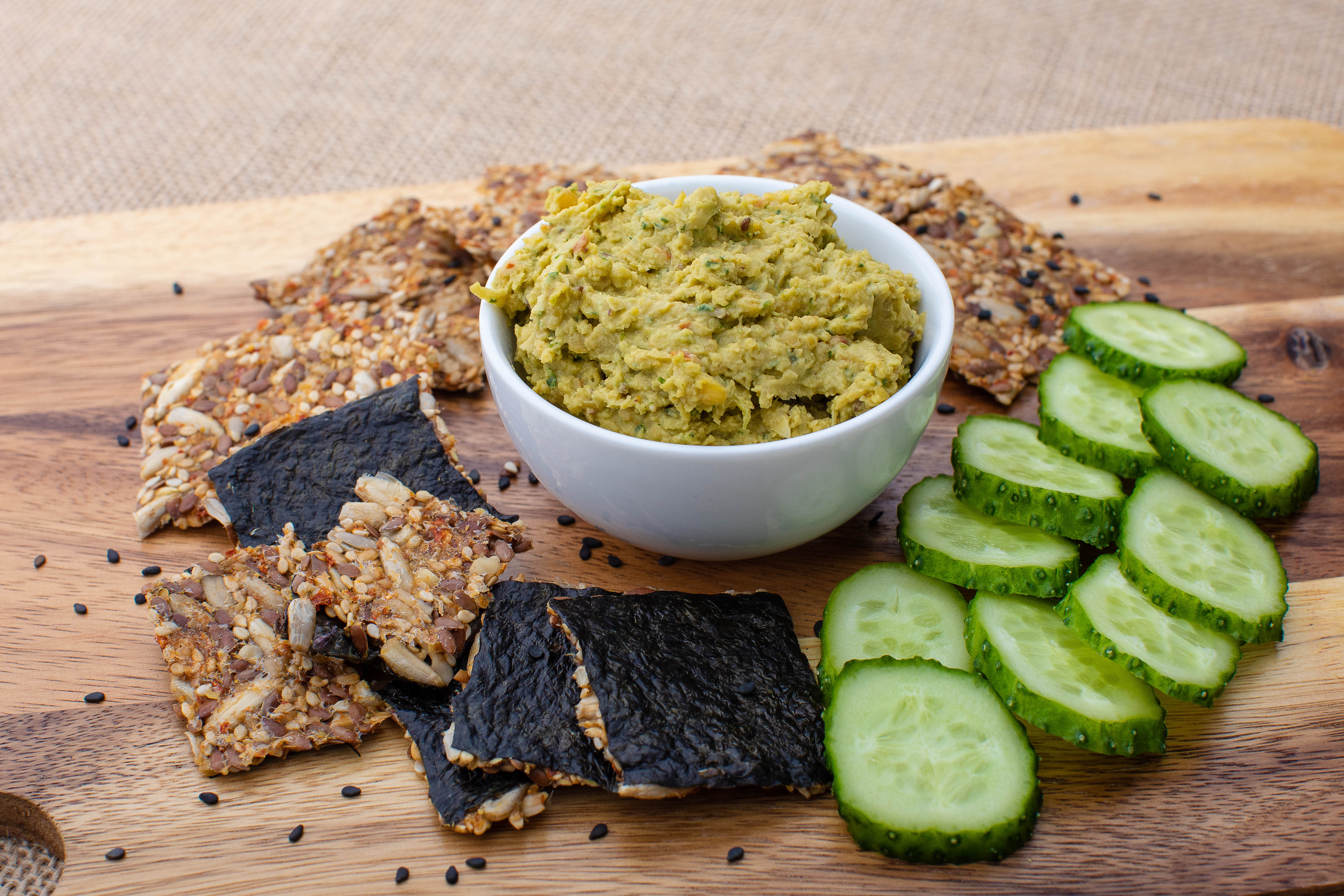 Hummus with raw seed crackers