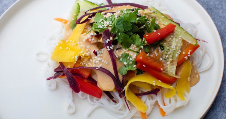 Colourful Thai noodle salad with peanut butter dressing