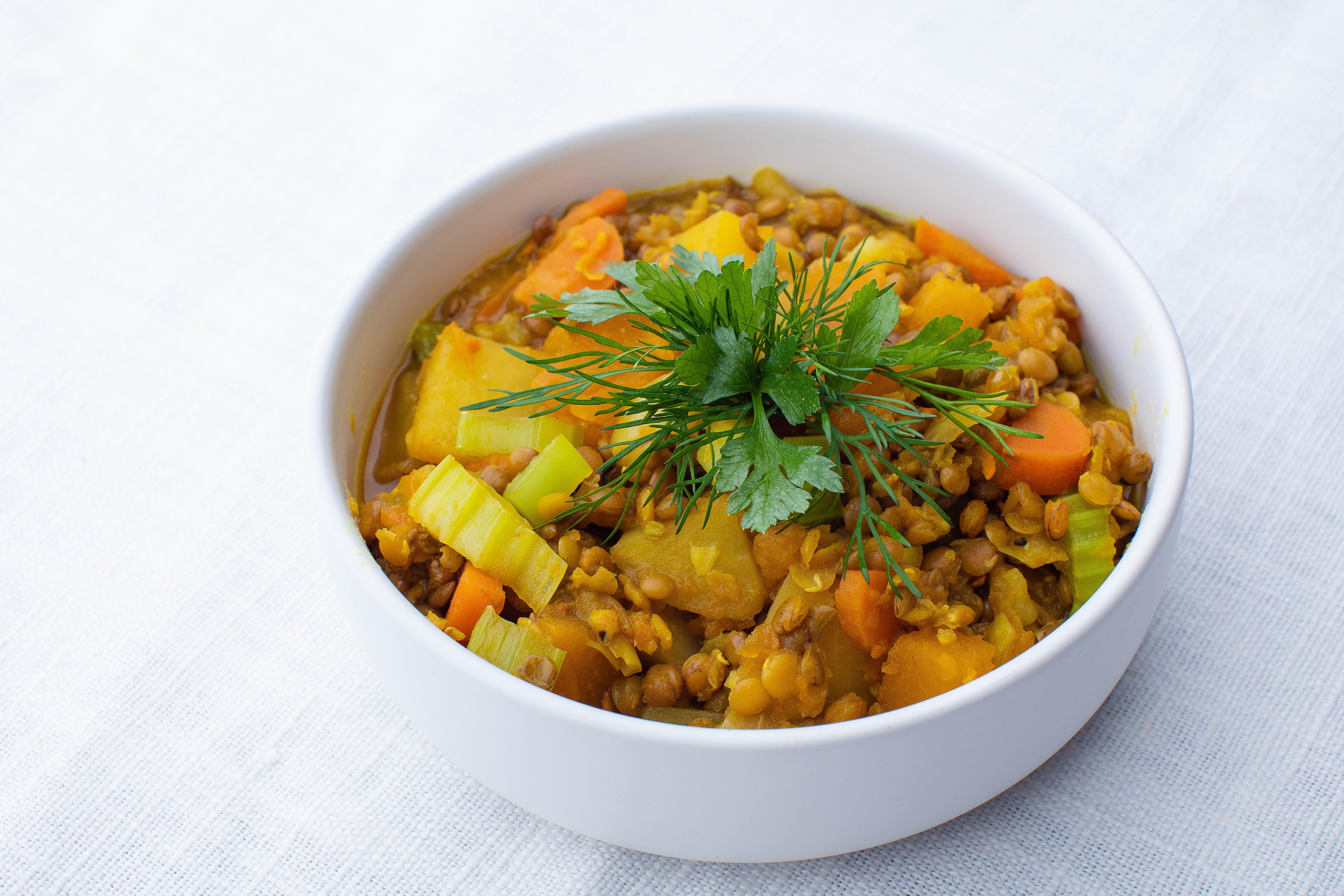 Lentil and vegetable hotpot