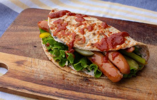 Grilled sausage keto flatbread wraps